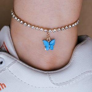 Blue Butterfly Crystal Ankle Bracelet
